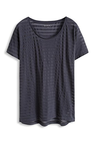ESPRIT Damen Casual Sports Streifen T-Shirt Aus Materialmix Grau (DARK GREY 020)