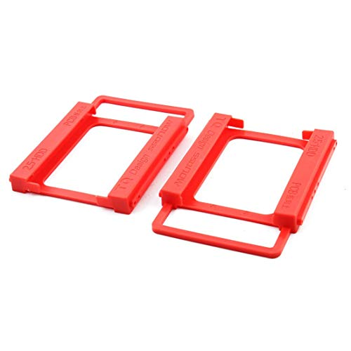 Plastic Laptop Computer 2.5 Inch to 3.5 Inch SSD HDD Screwless Mounting Adapter Bracket Hard Drive Holder 2pcs Red