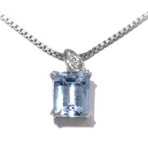 Gioie Girocollo Donna in Oro 18 carati Bianco con Acquamarina e Diamante H/SI (totale diamanti 0.01 ct), Cm 42, 5.3 Grammi