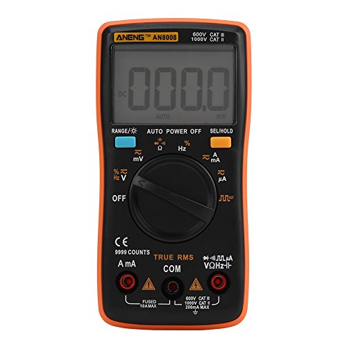 Akozon Digitalmultimeter Autoranging,ANENG AN8008 True-RMS-Digitalmultimeter AC DC-Spannung Amperemeter Strom Ohm Meter-Diode/Shutdown, Frequenz und Duty Cycle Messungen-LCD Display-9999 zählt Duty-cycle-multimeter