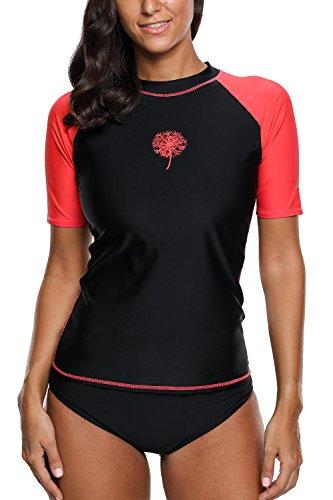 Sociala Damen Bademode Rash Guard UV Shirts Kurzarm Surf Shirt Badeshirts UPF 50+ Schwarz XL DE42
