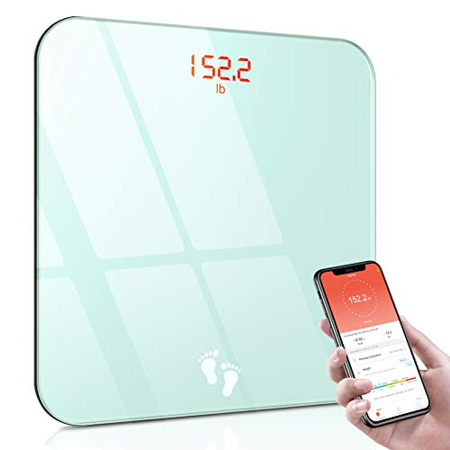 Personenwaage Digital mit App, Cocoda Smart Körperwaage Bluetooth Waage Personen mit Step-On Technologie & Leicht Lesbar Backlit LED Display, BMI Waagen, 0.2-180kg (2 x AAA Batterien Inklusiv)