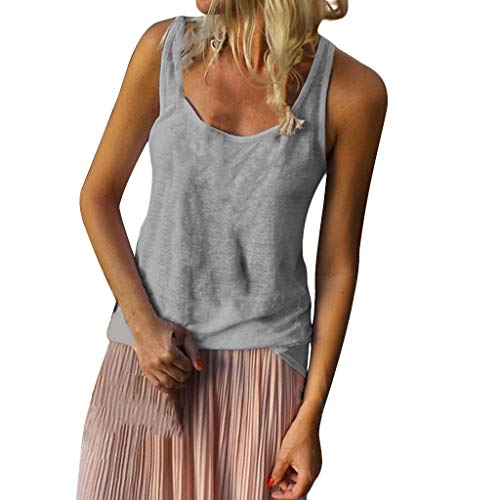 Bfmyxgs Women Basic Style Sleeveless T-Shirt Casual U-Neck Solid Color Tops Oversize
