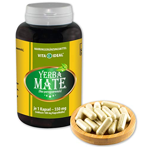 Alten Yerba Mate (VITA IDEAL ® Yerba-Mate-Blätter (Ilex paraguarensis) 180 Kapseln je 550mg, aus rein natürlichen Kräutern, ohne Zusatzstoffe)