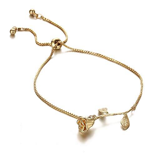 Lovinda Rose Damen Armband, Mode einstellbar Metalllegierung Armbändchen, Hochzeit Party Schmuck Set Zubehör (Gold)