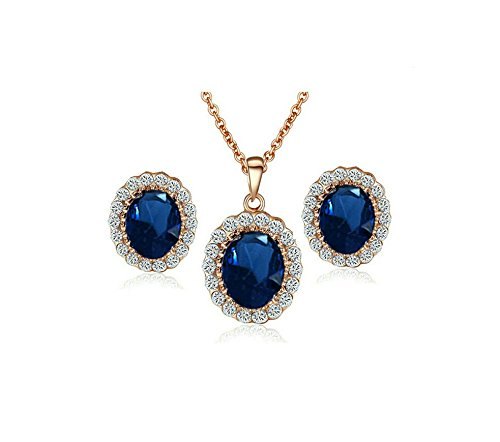 18CT Rose Gold Plated Oval Luxury Navy Rhinestone Necklace And Earrings Wedding Fashion Jewelry Sets