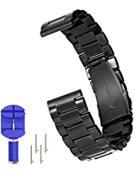 N.ORANIE 20mm Breite Uhrenarmband Edelstahl Verstellbarer Armband mit Arc Metal Gürtelschnalle für Moto 360 2nd Gen (Herren 42mm) Samsung Gear S2 Classic und Pebble Time Round Smartwatches (3 Zeiger Style-Schwarz)