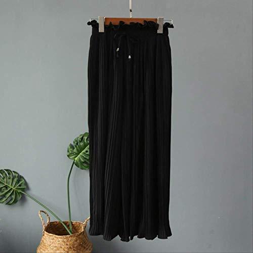 KTKZSS Mode weites Bein Hose hohe Taille plissiert Hose blütenblätter saum Wilde Chiffon Frauen Rock one Size schwarz -