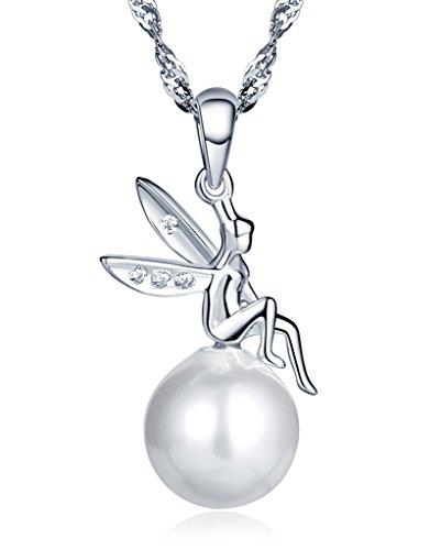 Unendlich-U-Fashion-925-Sterling-Silber-Damen-Halskette-Kleiner-Engel-10mm-Perle-Anhnger-Perlenkette