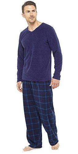 Herren 2-teilig Luxus Gesamtlänge Pyjama Set Warm Winter Thermo / Jersey Oberteil Luxus Flanell Lounge-hose Herren Jungen Pjs Pj Geschenk Größe s-XXL (L, Blau Check)