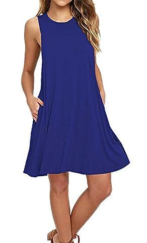 Aitos Femmes Robe Ete Courte Sans Manches Coton Ample Mode Trapèze Lâche Liquette Uni Original Fluide Tunique Casual Avec Poche Bleu 44-46/ XL