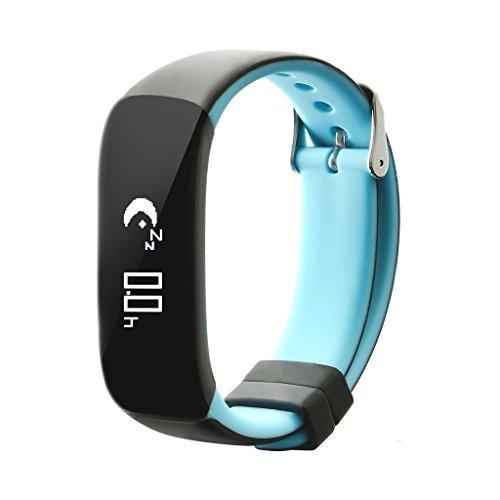 Bracelet Connecté, Nonmon Montre Contectée Moniteur de Tension Artérielle Compatible avec Smartphone Android et iOS - Bleu