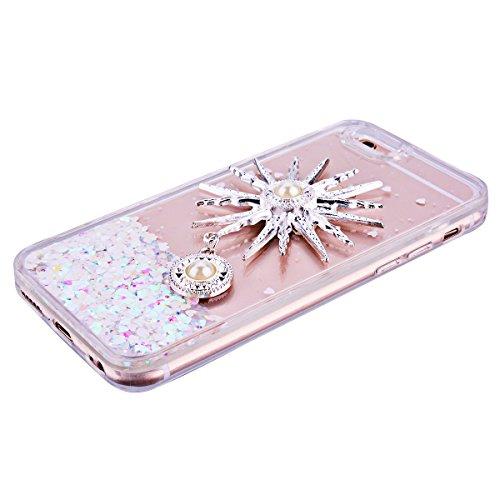 GrandEver Custodia Dura per Apple iPhone 6 Plus / 6S Plus 5.5 Trasparente Crystal Clear Cover 3D Love Heart Custodia Rigida Creative Disegno scorre fluttuante liquido lusso di Cristallo Bling Strass  sole