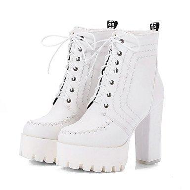 Rtry Femmes Pu Chaussures Automne Hiver Confort Nouveauté Bottes De Mode Bottes Chunky Bootie Perles Bout Rond Bottines / Bottines À Lacets Pour Bureau & Amp; Us8.5 / Eu39 / Uk6.5 / Cn40