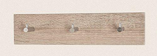 Sechs Garderobenleisten in Eiche-chrom aus MDF; Maße: 34x5x8