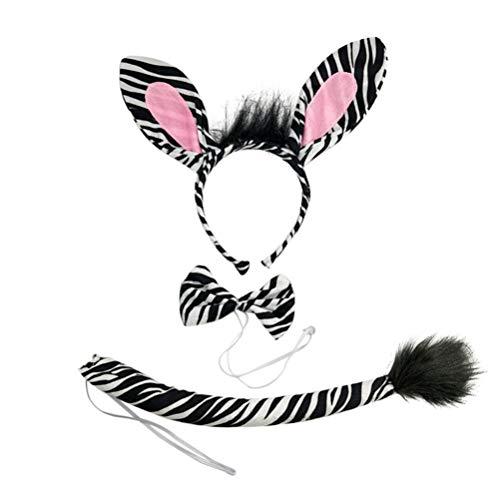 Zebra Kostüm Schwanz - Amosfun Zebra-Kostümstützen des Kindertierohrstirnband Bowtie Endstücks lustige für Partei Cosplay 1 Satz
