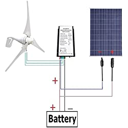Eco-Worthy 100W Módulo Solar 12V Panel Solar con 400W Aerogenerador 12V,500W, Kit de energía y solar y eólica