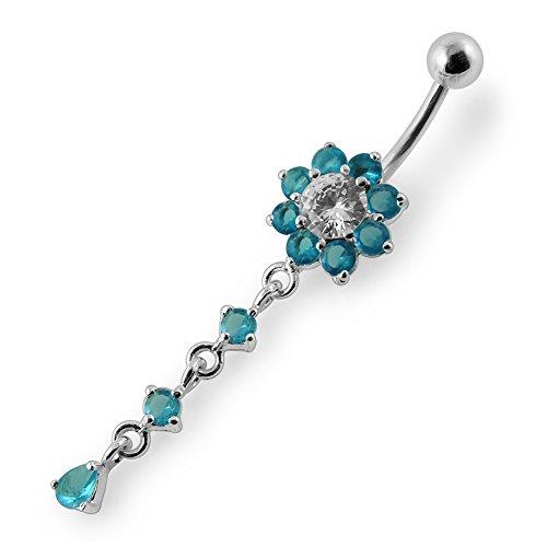 Bijou de corps anneau de nombril fleurs avec pierre Argent Sterling avec 14G-3/8 Inch (1.6x10MM) Banana Acier chirurgical 316L Light Blue
