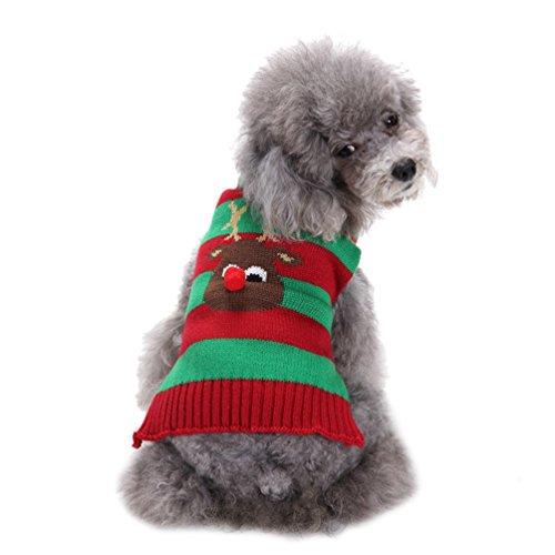 Für Katzen Kostüm Rentier - LvRao Welpe Hund Katze Strickpullover Sweater Doggie Rollkragen Jumper Weihnachten Rentier Haustier Kostüm Mantel (Rot Grün, 2XS)