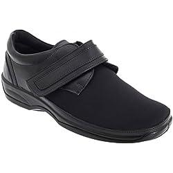 Mod Comfys - Zapatos cómodos elásticos de Ancho Especial para Mujer (42/Negro)