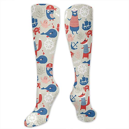 Girl Muster Sailor Kostüm - Gped Kniestrümpfe,Socken, Cartoon Pirates And Sailor Women's Girls Knee High Socks Sports Stockings Football Long Socks