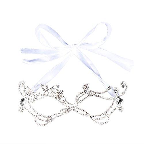 OULII Strass Kristall Maske Braut Augenmaske für Hochzeit Abschlussball Party
