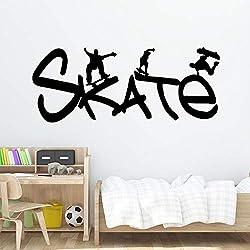 SLQUIET Skate Dessin Animé De Mode Sticker Pvc Murale Art Diy Affiche Salon Chambre Art Déco Décor À La Maison Papier Peint rose tendre 20x49 cm