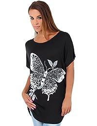 KRISP® Women Oversized Butterfly Print Tshirt Casual Batwing Tops