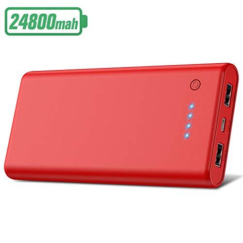 HETP Powerbank 24800 mah Externer Akku Power Pack Ladegerät Ultra Kompakter Dual Output Extrem hohe Kapazitat Tragbares Ladegerät Externer Batterie Pack für Handy, Tablet (Rot)