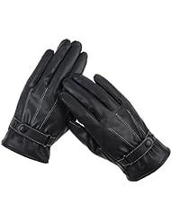 Los guantes calientes guantes y cómoda Guantes de cuero de invierno de los hombres calientes del espesamiento del terciopelo Guantes de equitación Sra invierno pantalla táctil Guantes para motos