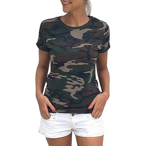 WOCACHI Damen Sommer T-Shirts Mode Frauen Casual Camouflage Kurzarm Rundhals T-Shirt Tops Shirt Bluse Grün