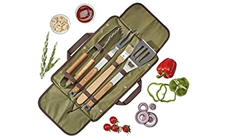 5 Piece Barbecue, Cooking & Grilling BBQ Tool Utensil Set with Carry Bag, Made from Solid Wood & Stainless Steel