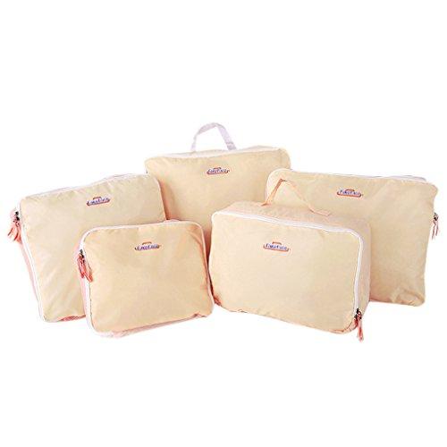 5er Pack Organizer Taschen für Koffer Kleidertaschen 5 Set für Kleidung Unterwäsche Socken 5 Farben Blau / Grau / Rosa / Violett / Rot Pink