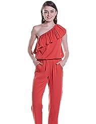 Good dress Oblicuos Hombro Pure Color Siameses Pantalones,Orange,L