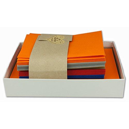 Jahreszeiten - Set |Herbst| 50 Stück Umschläge/Klappkarten & Einlegeblätter in den Farben: Graphit, Orange, Rot, Blau und Sand| DIN A6 / C6 |