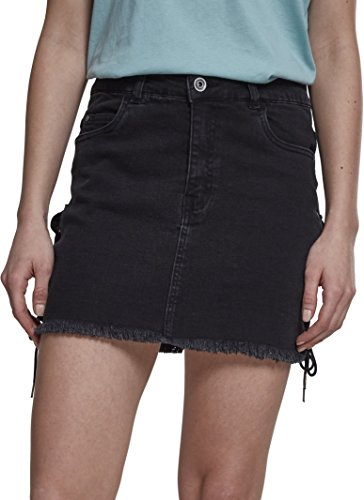 Urban Classics Damen Ladies Denim Lace Up Skirt Rock, Schwarz (Black Washed 00709), 34 (Herstellergröße: 26) -