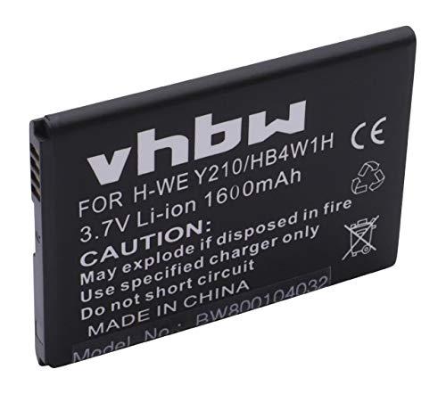 vhbw Li-Ion Akku 1600mAh (3.7V) für Handy Telefon Smartphone Huawei Ascend C8813, C8813D, C8813Q, G510, G520, G525, G530 ersetzt HB4W1, HB4W1H. (Huawei G510 Telefon)