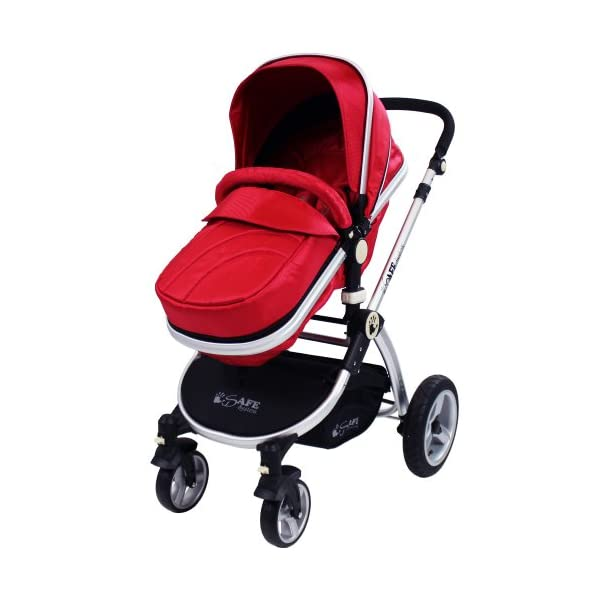 iSafe 2 in 1 Baby Pram System Complete (Red) iSafe 2 in 1 Stroller / Pram Extremely Easy Conversion To A Full Size Carrycot For Unrivalled Comfort Complete With Boot Cover, Luxury Liner, 5 Point Harness, Raincover, Shopping Basket With Closed Ziped Top High Quality Rubber Inflatable Wheels With The Full All around Soft Suspension For That Perfect Unrivalled Ride 2