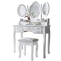 Monaco dressing table, stool and mirror, 7 drawers, 3 mirrors