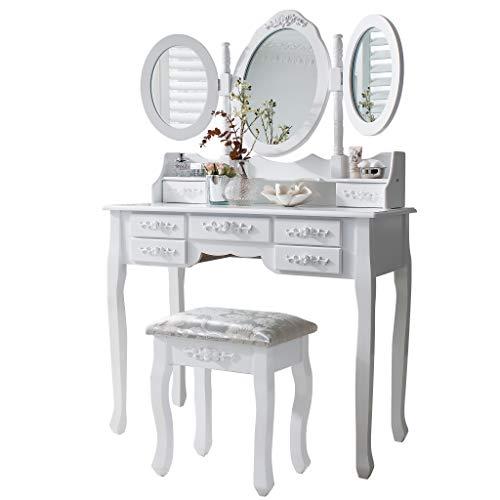 Laura James Monaco Coiffeuse, tabouret et miroir 7tiroirs 3miroirs