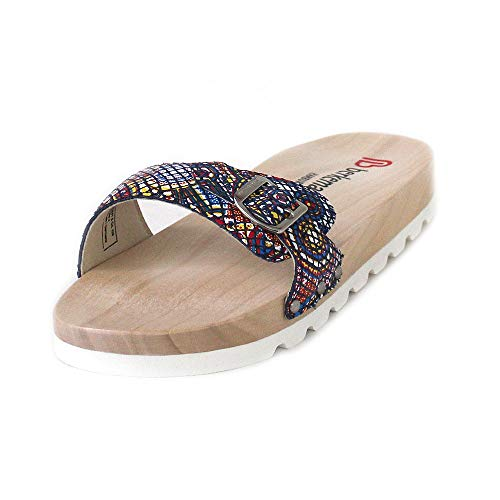 Berkemann Damen Hippie-NO-Sandale Pantoletten, Mehrfarbig (Blau/Tiffany 313), 39.5 EU