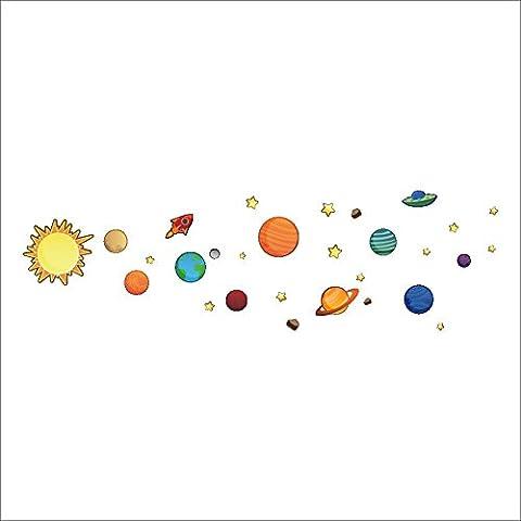 Système solaire Planète Stickers muraux Bricolage Chambre pour enfants Jardin d'enfants Salle de bain Salle de bain Imperméable PVC amovible