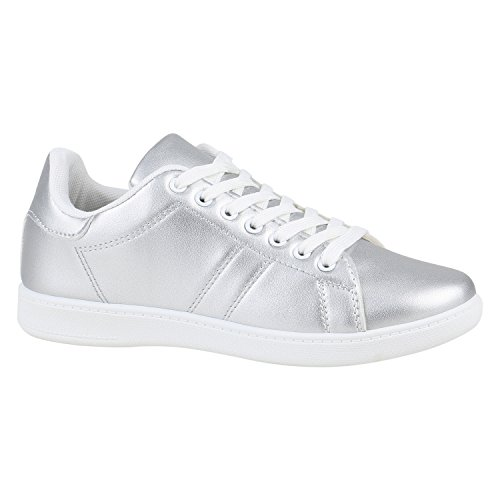 Damen Schuhe Sneakers Metallic Cap Sportschuhe Schnürer Freizeit 155853 Silber Weiss 39 Flandell