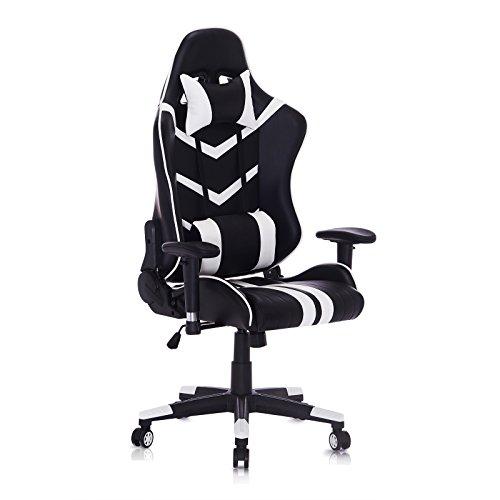 WOLTU® Racing Stuhl Chefsessel Bürostuhl Gamingstuhl Schreibtischstuhl Drehstuhl Sportsitz, mit verstellbaren Armlehne, mit Kopfkissen und Lendenkissen, höhenverstellbar, Kunstleder, Weiß, BS15ws