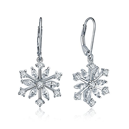 JO WISDOM ohrringe schneeflocke weihnachten hängend silber 925 Damen mit AAA Zirkonia