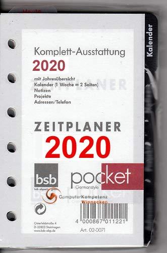 bsb A7 Pocket Komplettausstattung 2020 1Woche=2Seiten 7,8x12,8cm handelsübliche Lochung