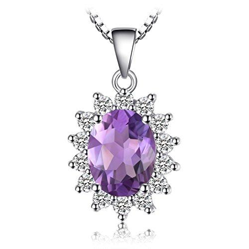 Jewelrypalace principessa diana william kate middleton 1.8ct naturale ametista halo ciondolo collana con pendente 925 argento sterling 45cm