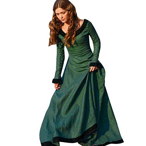 Longra Damen Vintage Mittelalter Kleid Prinzessin Gothic Kleid Damen Brautjungfer Festliches Hochzeitsfeier Ballkleid Cocktailkleid Langes Kleid Maxi Kleid Abendkleid Party Kostüm (M, (Kostüme Und Stadt Party)