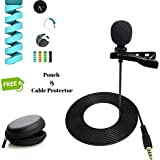 FreshDcart Mini Singing and Recording Mic Lavalier Lapel Microphone with Long Cable for Recording Singing Youtube on Smartphones (Black)