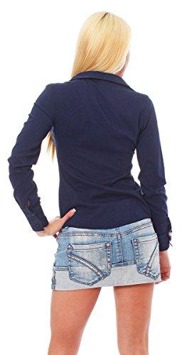 10276 Fashion4Young Damen Langarm Businessbluse Bluse Hemd Business Eleganz Hemdbluse elastischem Stretch Dunkelblau